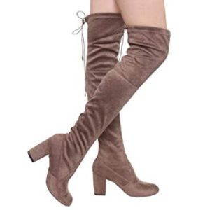 Shoes - Thigh-High Suede Boots in Taupe